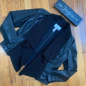 Bar III vegan leather waterfall jacket